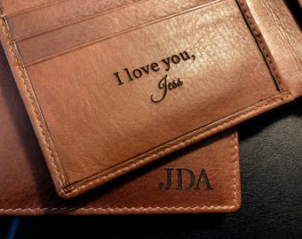 af393a6e161e Bifold wallet • engraved wallet • gift for him • genuine leather wallet •  gift for husband • personalized gift • gift • Toffee 7751
