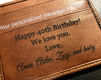 40th Birthday Gift For Man O Personalized Mens Wallet Husband Toffee 7751