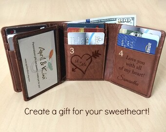 cedfecdd8786 Personalized Mens Wallet - Trifold Wallet - Leather Wallet - Christmas Gift  - RFID Wallet - Gift for Dad - Leather Mens Wallet Tof 7133