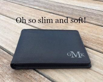 Minimalist men's wallet black • Slim black leather wallet• personalized slim wallet • monogram slim wallet • custom wallet • Black* 7720