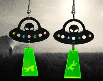 Weird Earrings UFO Earrings Alien Abduction Acrylic Laser Cut Dangle Halloween Earrings
