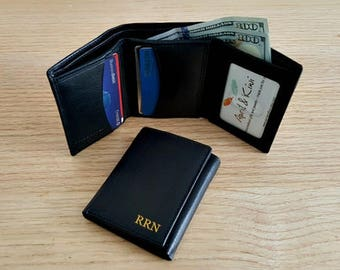 Leather wallet, mens gift, mens leather wallet, wallets, monogrammed wallet, engrave mens wallet, Fathers day gift, trifold wallet Blk 7730