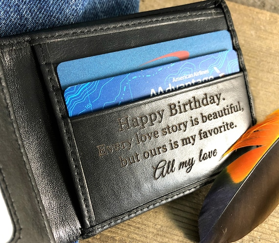 Birthday gift for him  birthday gift for man  black leather wallet  personalized wallet  personalized birthday gift for men • Black 7751 >
