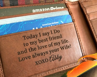 Gift for groom from bride on wedding day • personalized wallet for husband • wedding gift husband • husband wedding gift  •  toffee 7751 +