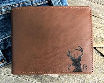 Gift for deer hunter • hunter gifts • gift for hunter deer antlers • hunting gifts • gift for dad • personalized men's wallet • Toffee  7751