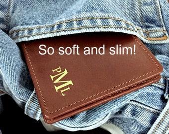 Minimalist men's leather wallet • personalized slim wallet • Slim men's wallet • monogram slim wallet • custom slim wallet • toffee** 7720