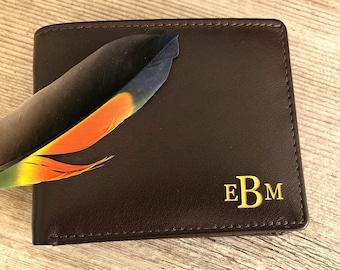 Monogram wallet • Men's wallet •personalized engraved bifold wallet • engraved mens leather wallets • gift for him RFID wallet • Brown* 7751