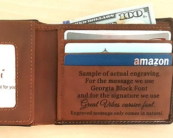Mens wallet • personalized mans wallet • genuine leather wallet RFID • personalized groomsman gift • monogram wallet • Black/toffee* 7751