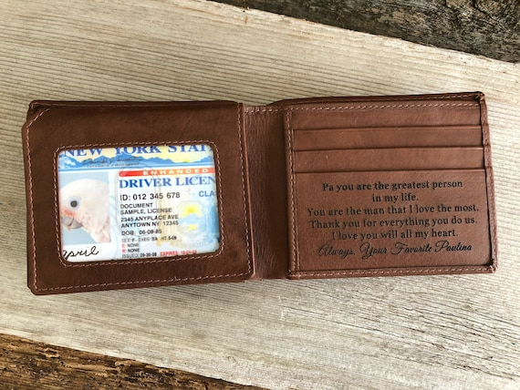 Father S Day Gift From Son Engraved Wallet Etsy