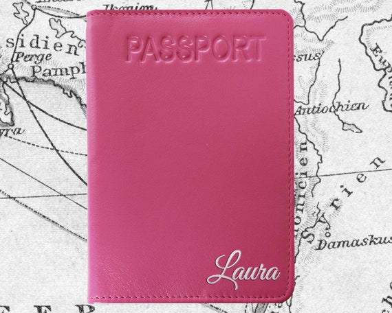 Heart Damask Genuine Leather Passport Cover Personalized