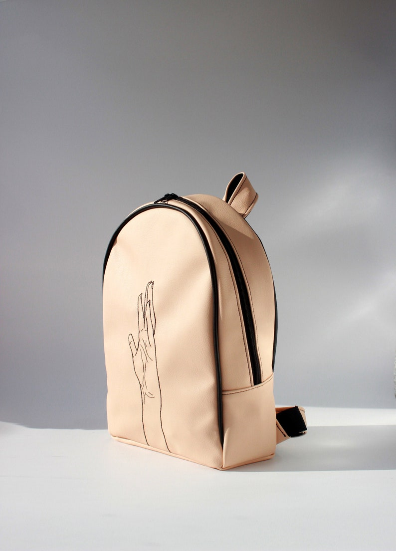 Woman backpack Rucksack, Faux leather backpack with illustration Vegan leather backpack