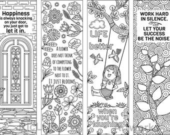 set of 4 coloring bookmarks with quotes bookmark templates etsy