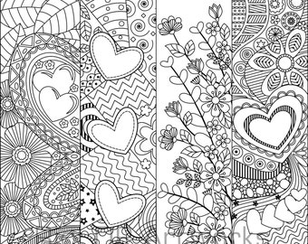 Set Of 8 Coloring Bookmarks With Hearts Art Doodles For Valentines Day Digital Download