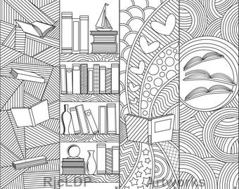 A Set Of 8 Printable Coloring Bookmarks 4 With Texts And Without On Books Reading Digital Downloads