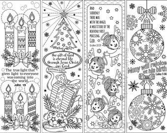 Set Of 8 Christmas Coloring Bookmarks With Bible Verses Christian For The Yuletide Season Digital Download