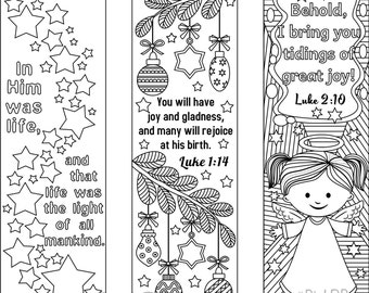 set of 9 christmas coloring bookmarks 6 with bible verses and 3 without texts cute markers for the yuletide season digital download