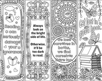 set of 4 coloring bookmarks with quotes plus the colored bookmarks digital download