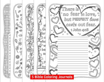 Five Bible Coloring Journals For Grown Ups Printable Pages Journaling With 5 Designs