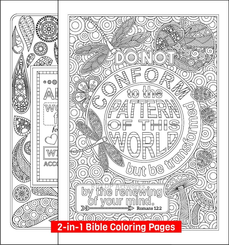 Two Bible Coloring Pages Romans 8 28 and Romans 2 12 | Etsy