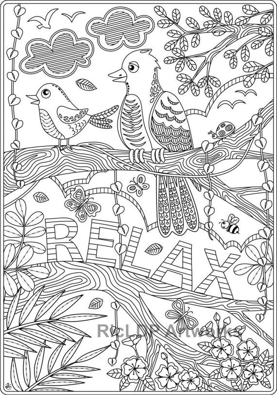 - Set Of 2 Coloring Pages For Kids And Adults Relax And Stay Etsy