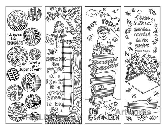 Set Of 8 Coloring Bookmarks With Quotes About Books And Reading Cute Doodle Markers Boy Girl Artworks Digital Download