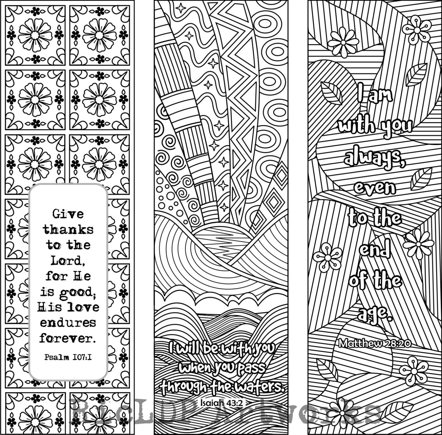 Set of 6 Bible Verse Coloring Bookmarks plus 3 designs with   Etsy