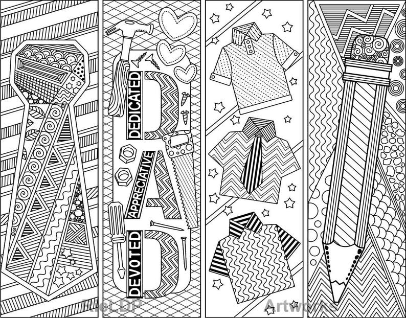 Set Of 8 Coloring Bookmarks For Daddy Father S Day Etsy