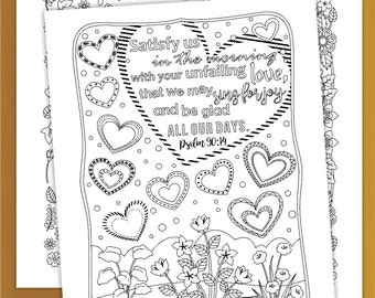 Three Bible Verse Coloring Pages for Adults, Printable Scripture Posters with three designs