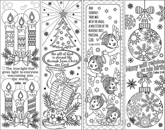 Set of 8 Christmas Coloring Bookmarks with Bible Verses