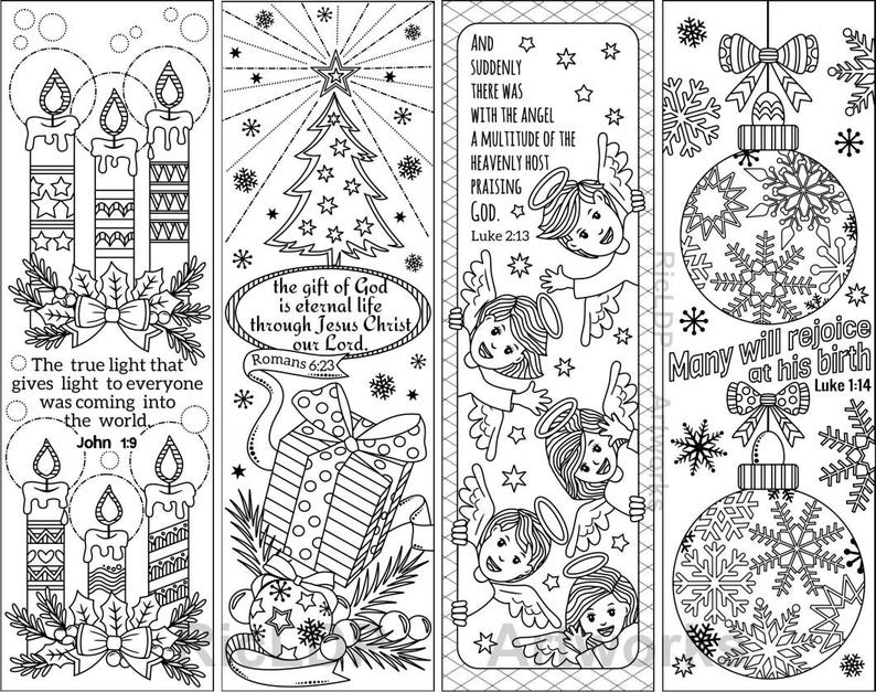 Set of 8 Christmas Coloring Bookmarks with Bible Verses; Christian  Bookmarks for the Yuletide Season; Digital Download