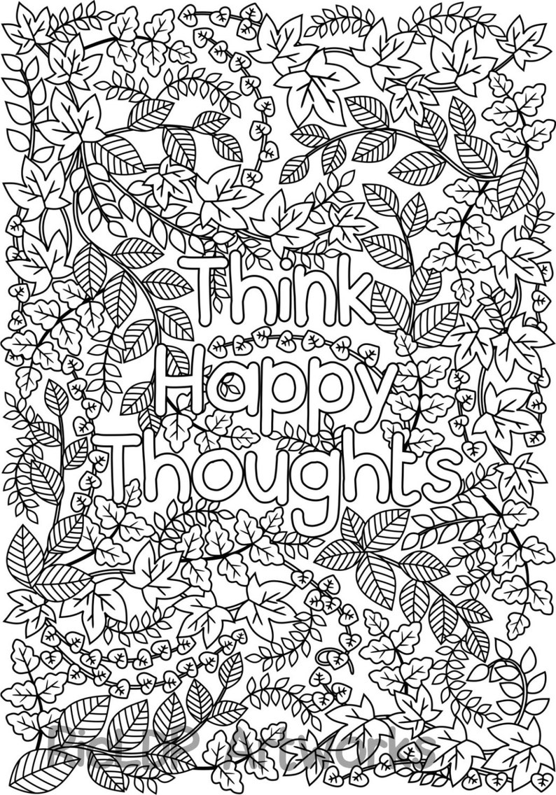 Think Happy Thoughts Coloring Page For Grown Ups Adult Etsy