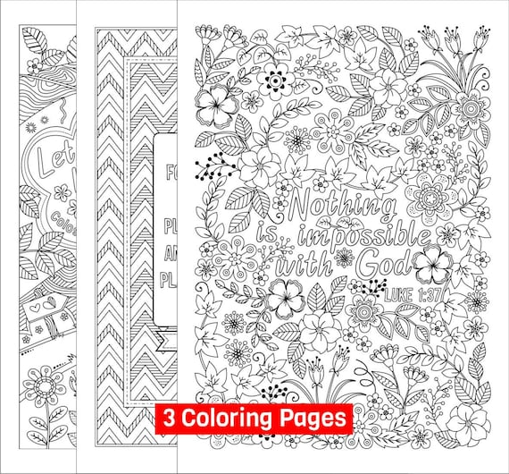 Set Of 3 Bible Coloring Pages For Grown-ups Colossians Etsy