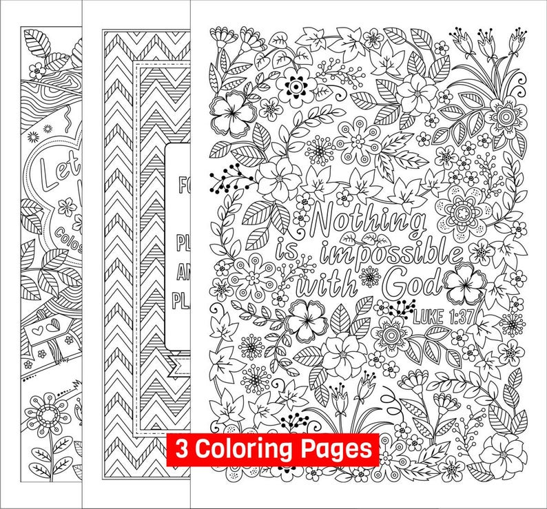 Set Of 3 Bible Coloring Pages For Grown Ups Colossians Etsy