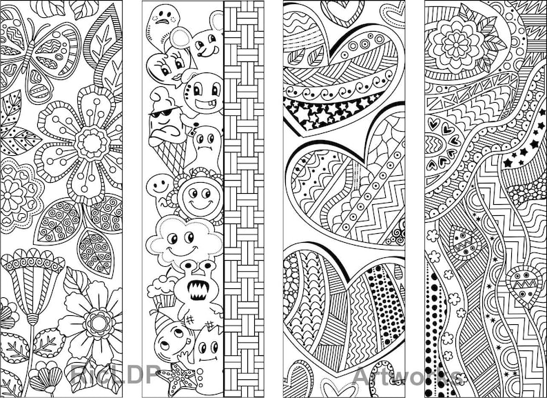 Set of 8 Coloring Bookmarks with Abstract Patterns | Etsy