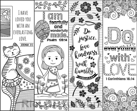 Set Of 8 Bible Verse Coloring Bookmarks For Kids Scripture Etsy