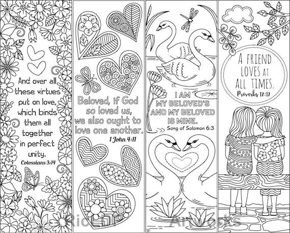 Insieme Dei Segnalibri Da Colorare 8 Con Amore Bibbia Versetti Etsy