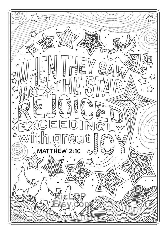 Two Christmas Coloring Pages Xmas Coloring With Bible Verses Etsy