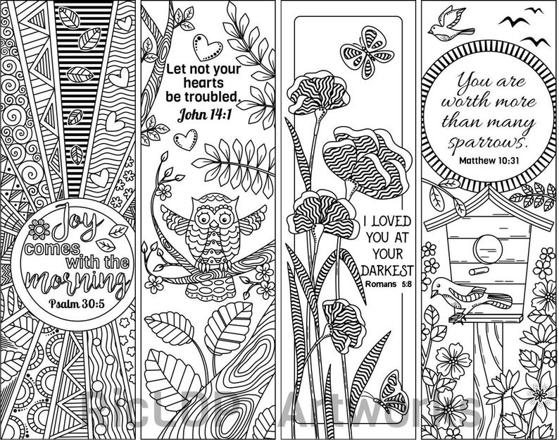 Set of 8 Bible Verse Coloring Bookmarks; Bookmark Doodles with Scriptures;  Digital Download