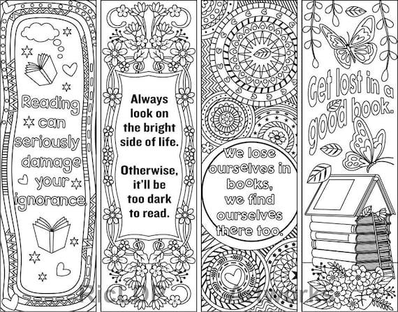 Set von 4 Färbung Lesezeichen mit Zitaten plus die farbigen