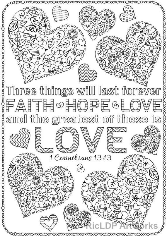 Set of 3 Love Bible Verse Coloring Pages; Corinthians Coloring Sheets;  Digital Download