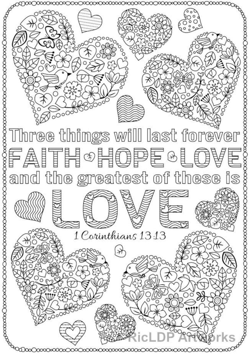 Set of 3 Love Bible Verse Coloring Pages Corinthians Coloring | Etsy