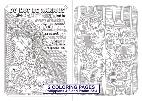 Set Of 2 Bible Coloring Pages Philippians 4 6 & Psalm 23 4 Etsy