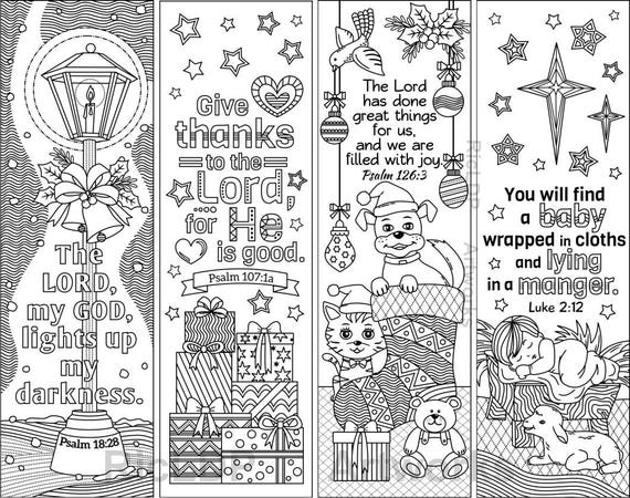 Set Of 8 Christmas Coloring Bookmarks With Bible Verses Etsy