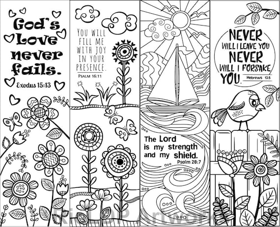 Set Of 8 Bible Verse Coloring Bookmarks For Kids Scripture