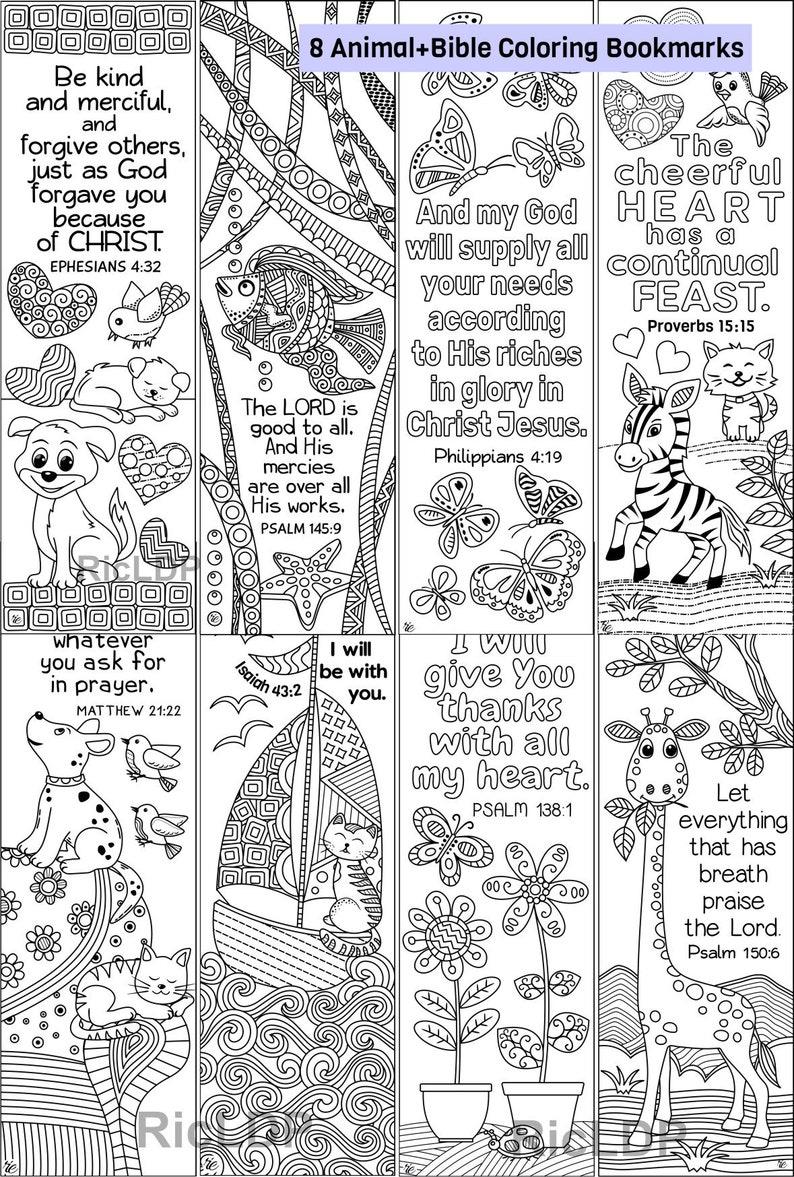 Set Di 8 Animali Insetti Bibbia Da Colorare Segnalibri Etsy