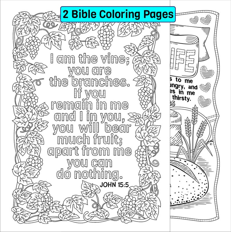 Set Of 2 Bible Coloring Pages John 15 5 And John 6 35 Scripture Coloring Sheets Vine And Branches Bread Of Life Digital Download