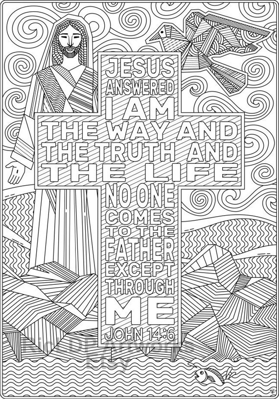 Set Of 2 Coloring Pages From John Bible Coloring Sheets Etsy