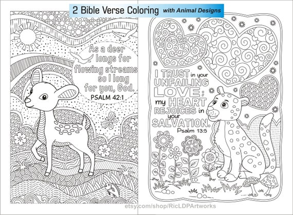 2 Bible Coloring Pages Cute Animal Designs Deer Leopard Etsy