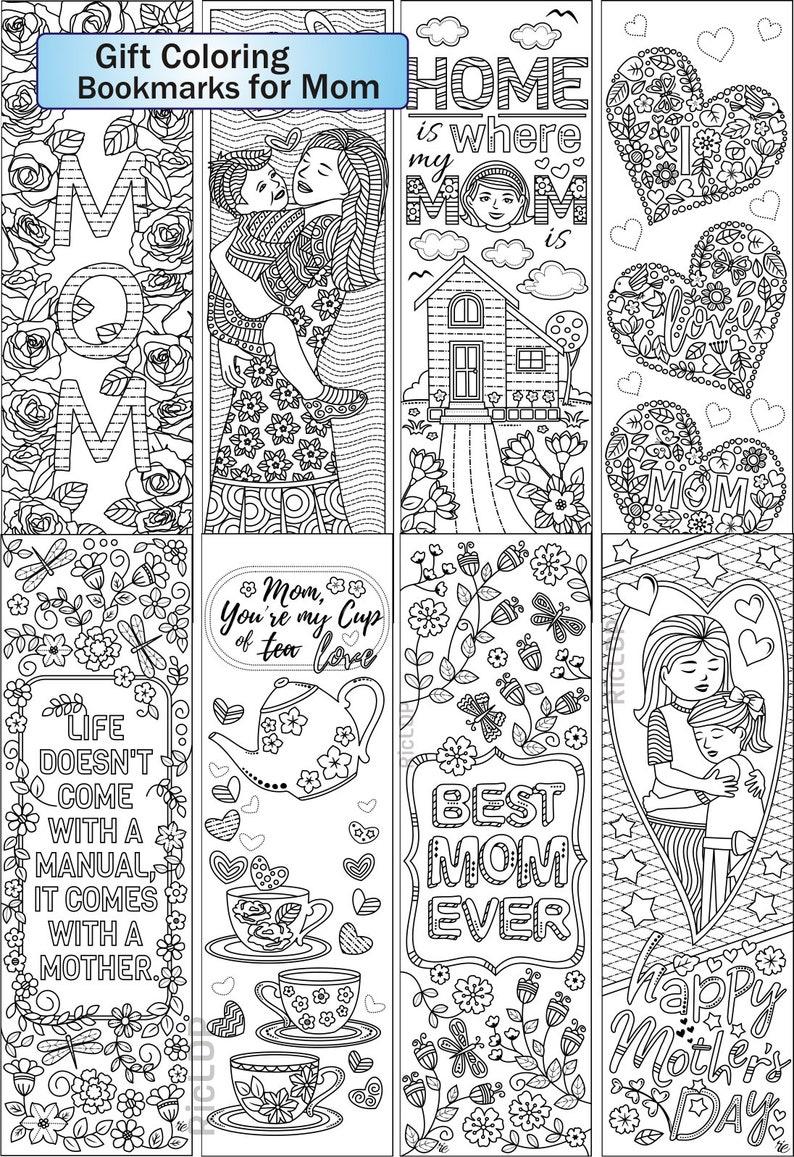 set of 8 coloring bookmarks for mom gift bookmarks on etsy. Black Bedroom Furniture Sets. Home Design Ideas
