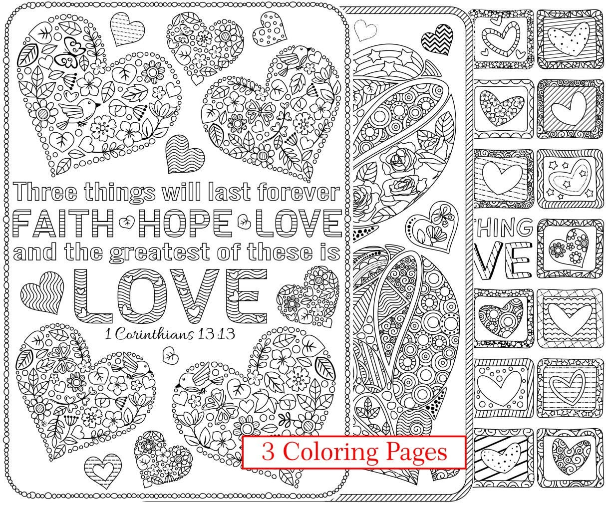 3 Printable Love Bible Verse Coloring Pages Corinthians Bible